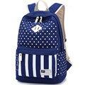 2017 Новый конструктор Военно-Морского Флота Полосы девочек-подростков школьные рюкзаки Простой точка Холщовый мешок рюкзак моды случайные женщины сумка