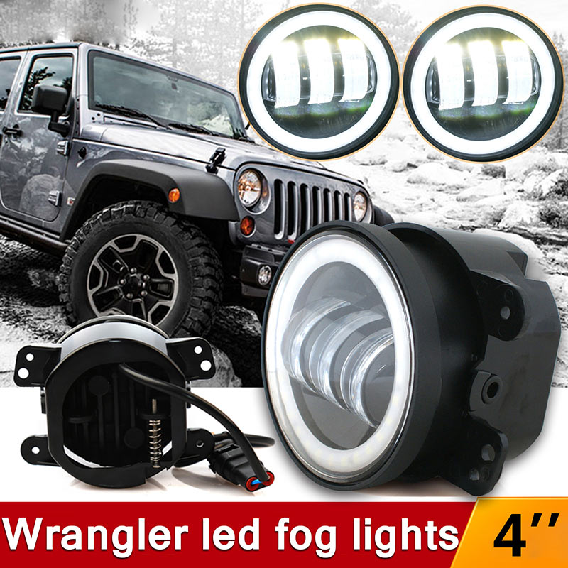 2pcs 4 Round Car LED Projector Fog Light 30W Angel Eye Halo Ring DRL Driving Bulbs Car Accessories For Jeep Wrangler 07-16 JK 2x 2 5 inch led fog angel eyes cob halo ring drl projector lens driving car styling replacement accessory auto bulbs for mazda