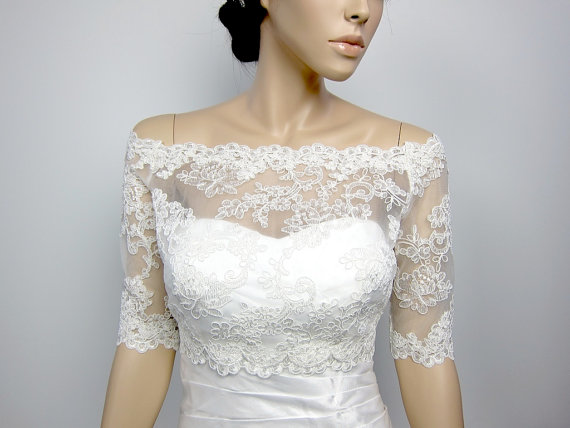 Ivory White Boat Neck Beaded Lace Half Sleeves Bridal Bolero Wedding Accessories Off Shoulder Jacket In Jackets Wrap From Weddings
