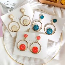Korea Baroque Style Vintage Enamel Geometric Circle Drop Earrings For Women Elegant Party Ear Jewelry Dangle Earings Wholesale