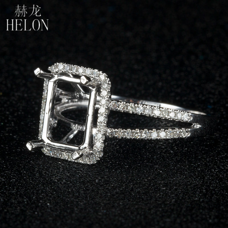 HELON 925 Sterling Silver 6x8mm Cushion Pave 0.3ct Diamonds Classic Eternity Engagement Semi Mount Womens Jewelry Fine Ring