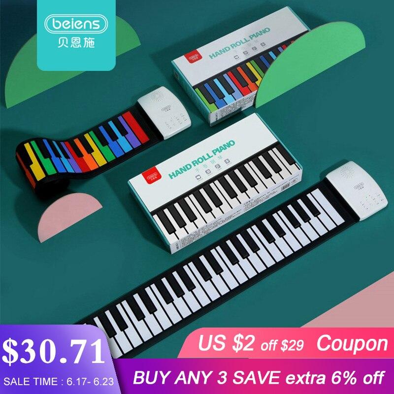 Beiens Portable 49 touches clavier numérique retroussable Piano Silicone électrique main Piano cadeau pour enfants enfant jouet Instruments de musique