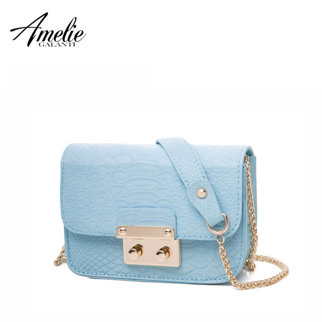 AMELIE GALANTI new women message bags flap serpentine chains shoulder bag high quality PU small sequined fashion cover bag 2017