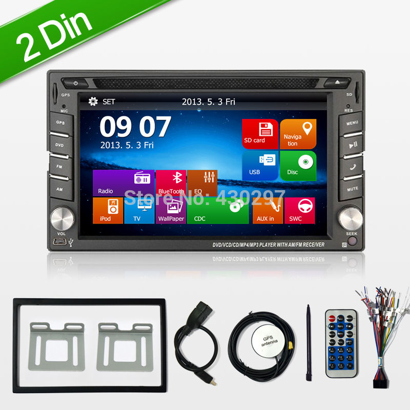 reverse camera 6 2 2 din car gps navigation stereo dvd player bluetooth ipod radio fm am. Black Bedroom Furniture Sets. Home Design Ideas