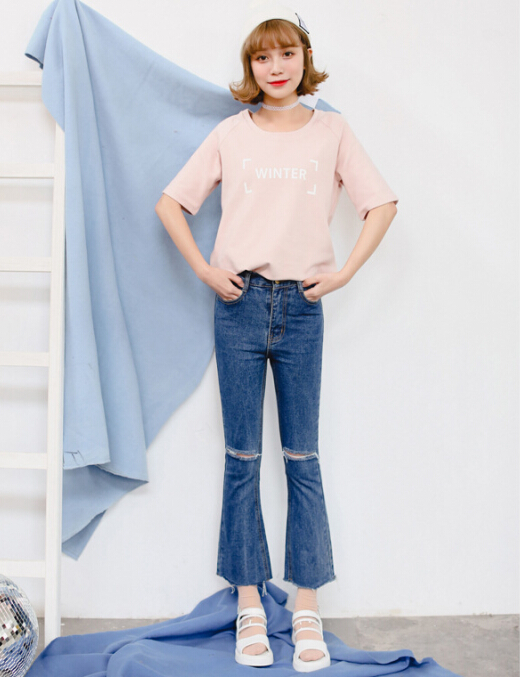 ФОТО 2016 Spring New Arrival Women Casual Ripped Jeans Slim Vintage High Waist Flare Pants Blue Size 26-30