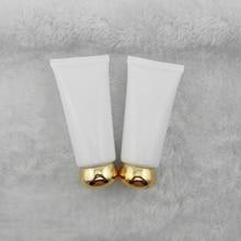 50 ШТ. 50 мл белый золотой круглой крышкой трубки косметические по уходу за кожей упаковки пустые бутылки PE бутылки пластиковые шланг