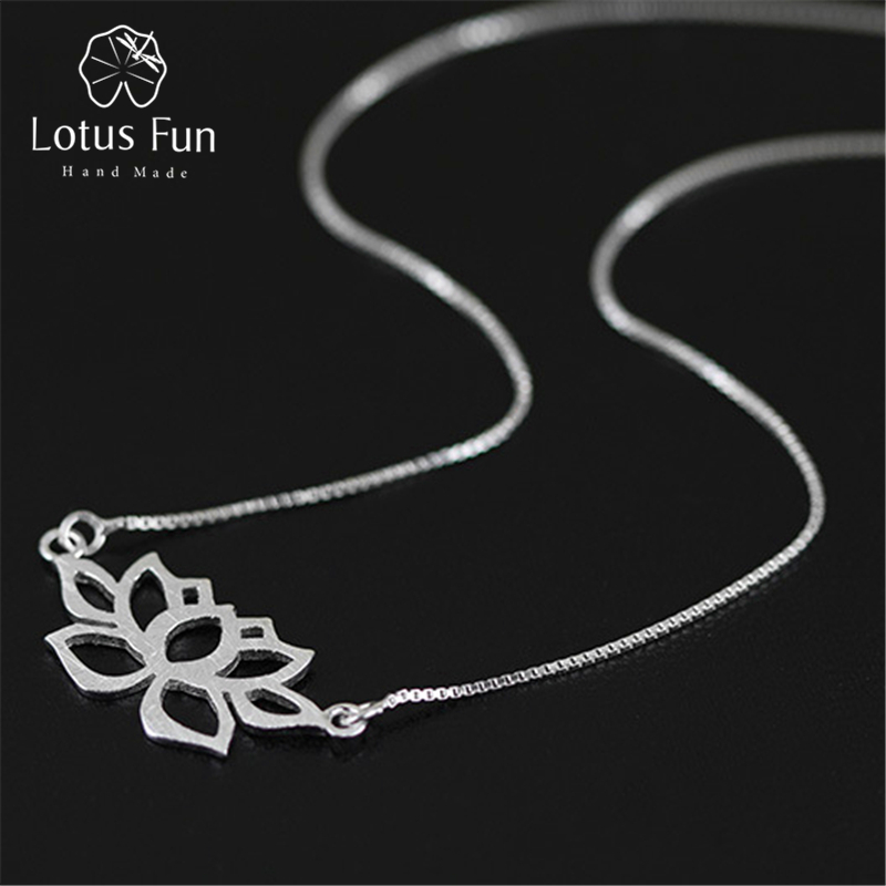 Lotus Fun 7 Store Lotus Fun Real 925 Sterling Silver Handmade Fine Jewelry Hollow Out Lotus Necklace with Pendant Acessorios for Women Collier