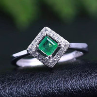 Genuine Natural Emerald Stone Ring 925 Sterling Silver Gold Plated Woman Madam Gem Jewelry Rings