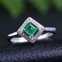 Из натуральной камень изумруд кольца 925 серебро женщина MadaM Gem Jewelry кольца