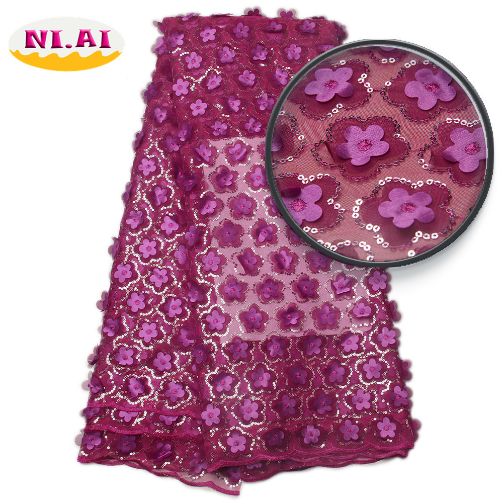 3D Net Lace Fabrics High Quality 3D Embroidered Tulle Lace Sequin Fabric 2017 New Nigerian Lace