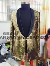S-5XL ! 2017 Men's fashion slim DJ singer Bigbang Golden sequins suit costumes clothing formal dress