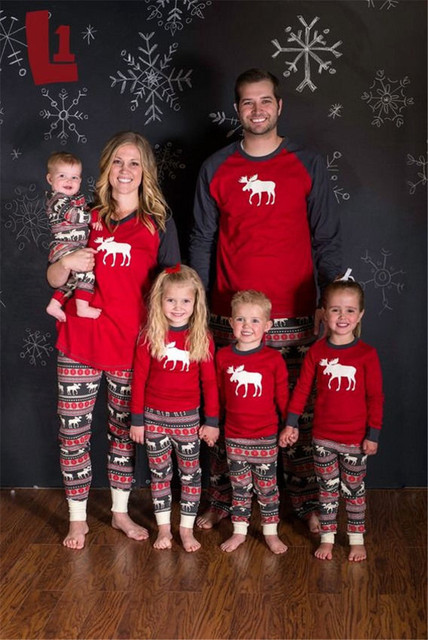 family matching outfits adult baby kids christmas nightwear pajamas sets men women children print 2 pcs - Children Christmas Pictures 2