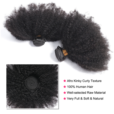 bling hair Brazilian Hair Afro Kinky Curly Bundles with Closure 100% Remy Human Hair Bundles With 4*4 Lace Closure Natural Color Islamabad