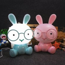 New Cartoon Glasses Rabbit Night Light Children Baby Kids Room Led Lights Christmas Gift Bedside Decor Home Lighting