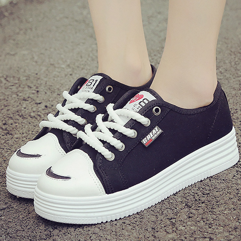 2018 new arrivals fashion canvas shoes black/white sneakers women solid sewing shallow women casual shoes lace-up scarpe donna