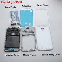 Generic Complete White Housing Cover Middle Frame & back cover & Glass Screen Replacement  for Samsung Galaxy S4  i9500