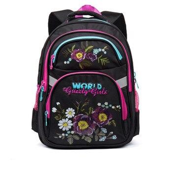 52099d9f218d Гризли детей школьные рюкзаки цветочный узор основной школьные рюкзаки для девочек  ортопедические рюкзаки Класс 1-5 Mochila Escolar