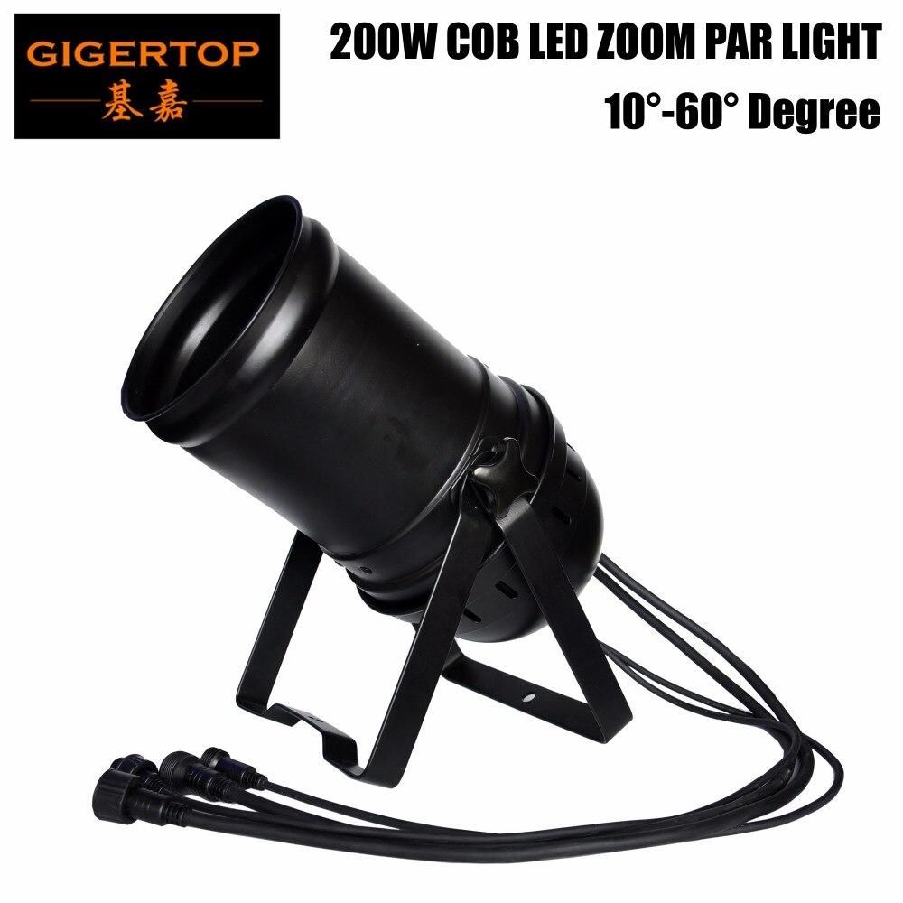 Gigertop TP-P85 200W Led COB Zoom Par Cans 3200k Warm White DMX512/Sound/Auto Control Chain Connection DJ Lights For Party Club