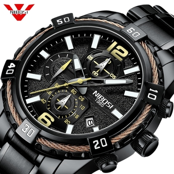 NIBOSI Watch Men Fashion Sport Quartz Clock Mens Watches Top Brand Luxury Waterproof Big Dial Blue Watch Relogio Masculino Saat