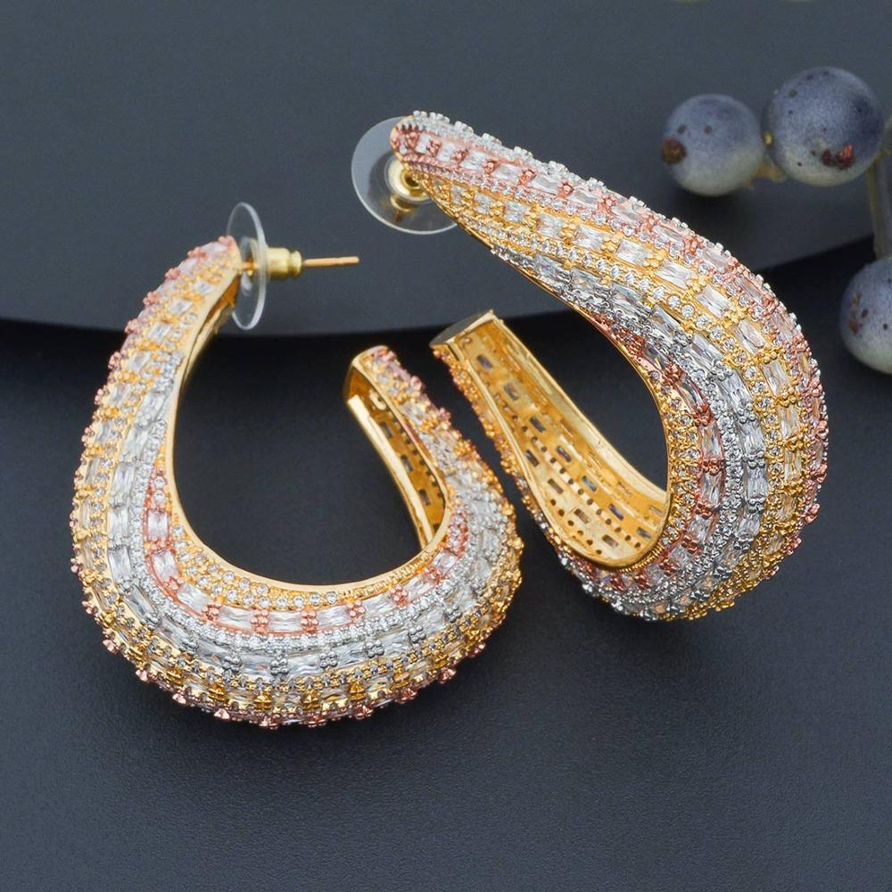 ModemAngel Grace raffinement mode Vogue 3 tons clair boucles d'oreilles pavé Micro cubique Zircon oreille bijoux pour les femmes