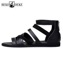 الرجال أحذية الصيف 2019 البريطانية عالية الجودة 100% جلد طبيعي عادية تنفس شاطئ صنادل طراز جلاديتور المفتوحة تو Sandalias Hombre