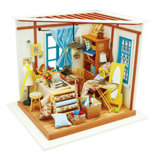 Robotime Wood DIY House Toy LED 3D Doll Houses Tailor's Shop Assembling Model Building Kits Wooden Puzzles Toys For Adults