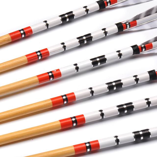 6/12/24pcs 80cm Spine 500 OD 8.5mm Wooden Pine Arrows with Turkeys Feathers for Recurve Compound Bow Longbow Archery Shooting