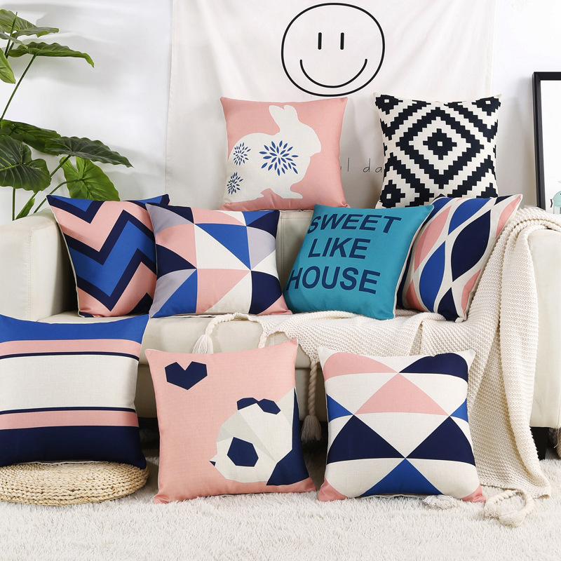 Nordic Decorative Cushion Covers Pink Blue White Geometric Throw Pillows Case Cotton Linen Chair Sofa Seat Square Pillow Cover