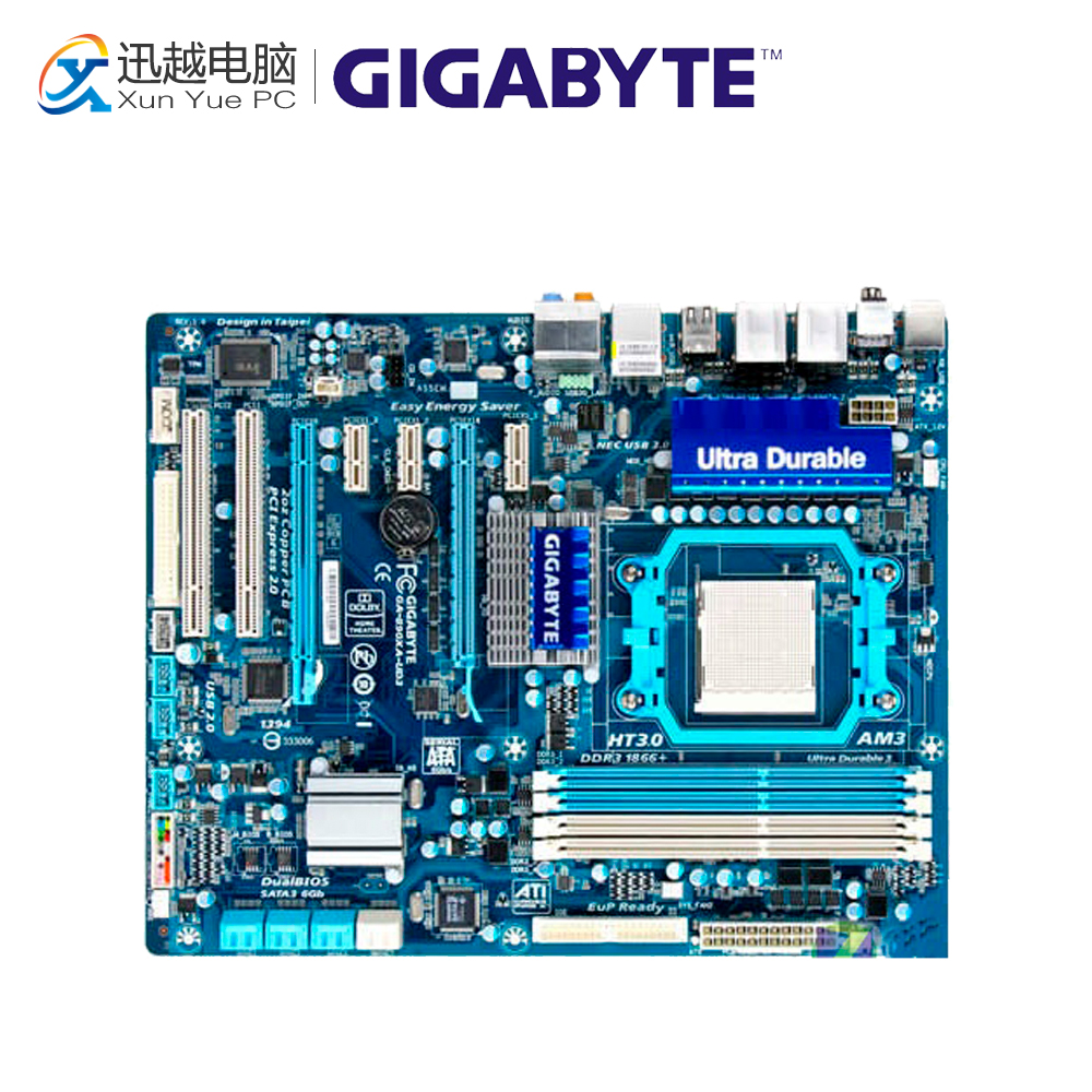Gigabyte GA-890XA-UD3 Desktop Motherboard 890XA-UD3 790X Socket AM3 DDR3 SATA2 USB2.0 ATX gigabyte ga ma785gmt us2h original used desktop motherboard amd 785g socket am3 ddr3 sata2 usb2 0 micro atx