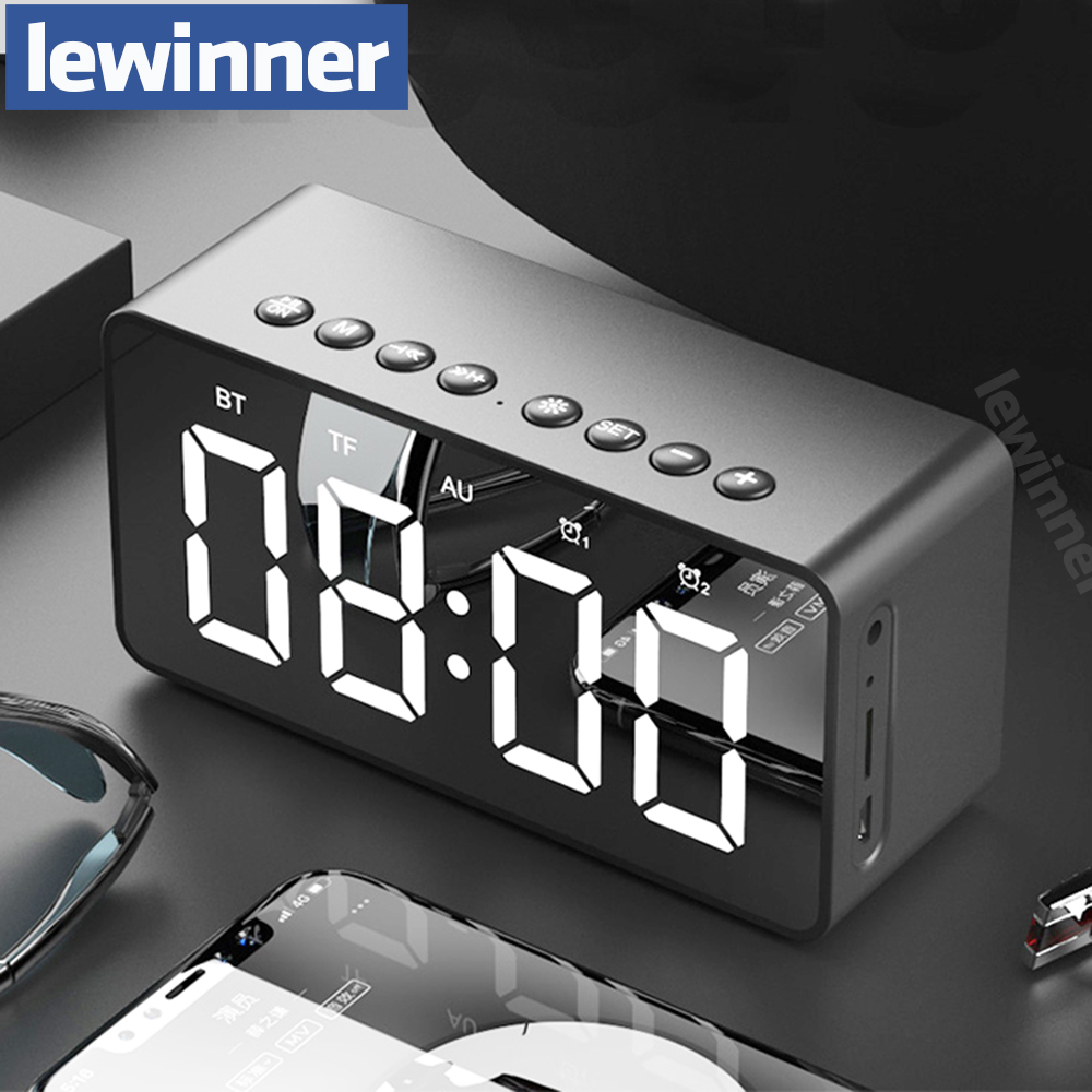 Lewinner Portable Bluetooth Speaker Super Bass Wireless Stereo Speakers Support TF AUX mirror Alarm Clock for Phone Computer exrizu ms 136bt portable wireless bluetooth speakers 15w outdoor led light speaker subwoofer super bass music boombox tf radio