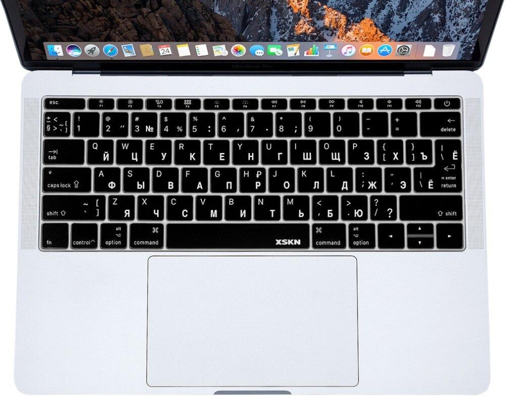 XSKN Russe Clavier Couverture pour Nouveau Macbook Pro 13 A1708 (Clé Plate, No Touch Bar) US EU Version Silicone RUS Clavier Protecteur