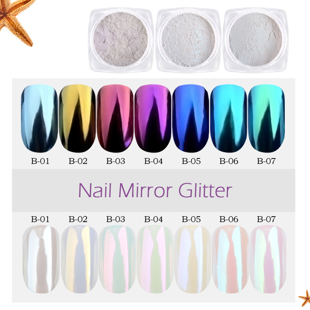 цены на 1g Nail Art Glitter Chrome Powder Decorations Mirror Nail Glitter Pigment Powder Gold Blue Purple Dust Manicure SAB01-07 в интернет-магазинах