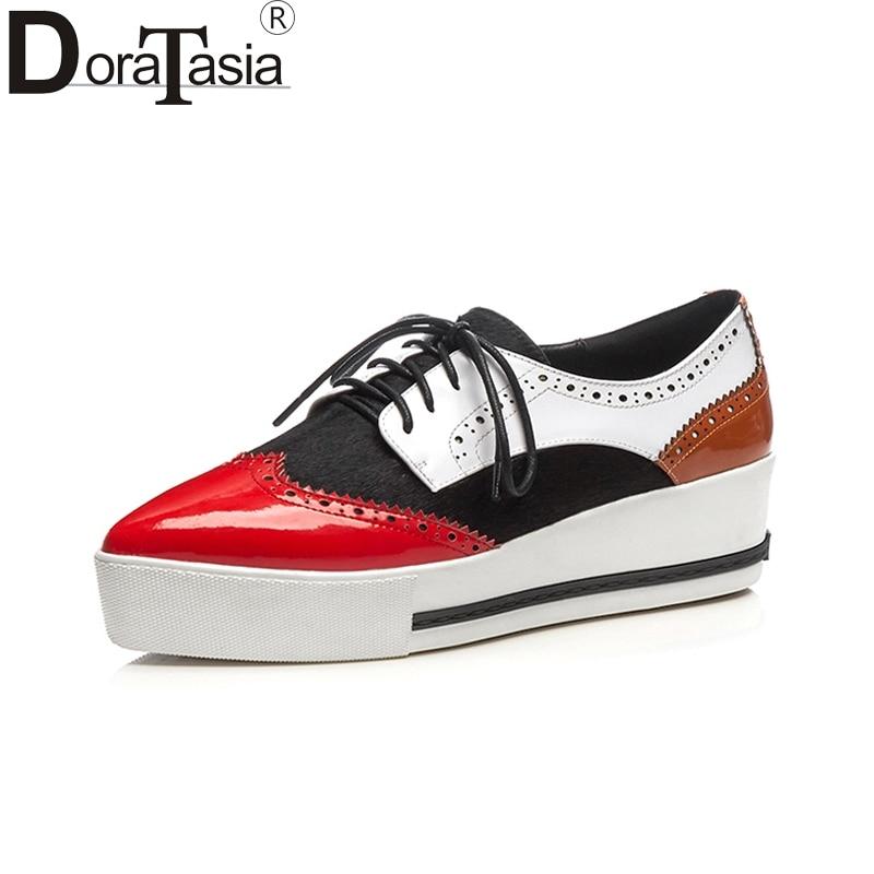 DoraTasia 2019 Large Size 32 40 Cow Leather Wedge Heels Platform Woman Shoes Lace Up Black