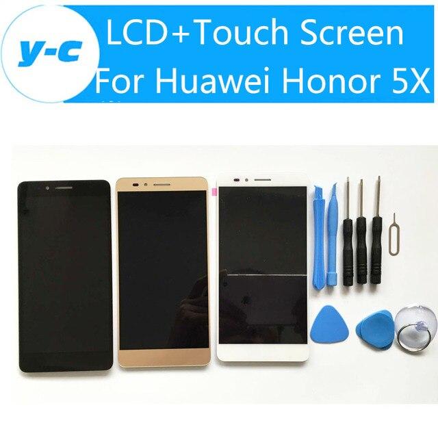 Para huawei honor 5x lcd display touch screen 100% novo 5.5 polegadas touch screen de substituição do painel para huawei honor 5x telefone móvel