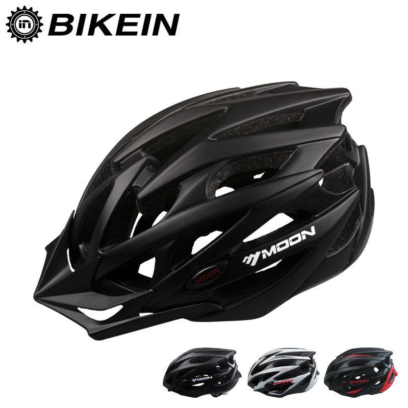 BIKEIN MOON Ultralight Road Bike Cycling Helmet Breathable Integrally-molded Mountain Bicycle Helmet MTB Safety Visor 21 Holes