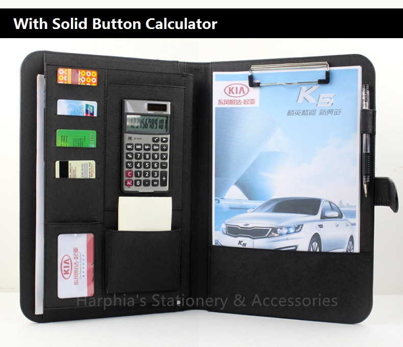 A4 Classical solid button calculator manager nappa leather portfilio document  business file folder brief case with calculator qshoic a4 multi function business manager clip to high grade leather with calculator folder file pu leather document folder