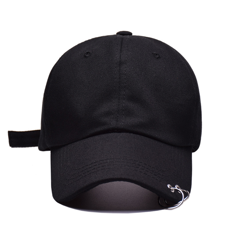 8fab32a96c866 ... Fashion Unisex Solid Color Iron Ring Baseball Cap Women Men Two Ring  Snapback Hat Male Female ...