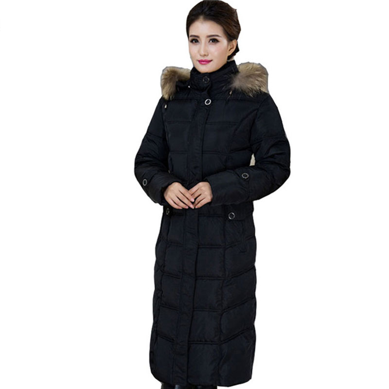 Parka Winter Jacket Large Fur Collar Women Outerwear down Cotton Padded women's winter Long Hooded overcoat Plus Size 5XL FP0097 new fashion print 2017 winter women down cotton medium long jacket parka female hooded fur collar size m 3xl outerwear coatcq560