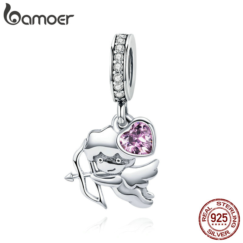 купить BAMOER 925 Sterling Silver Love Cupid Charms Pink CZ Lover Pendant fit Girls Bracelets DIY Jewelry Making Girlfriend Gift SCC903 в интернет-магазине