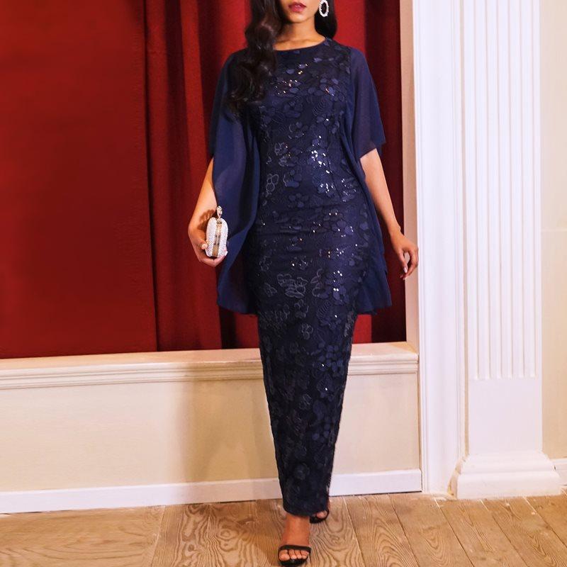 Party Elegant Long Pencil Dresses Vintage Blue Office Lady Summer Big Size Women Tight Retro Sequins Mesh Vintage Maxi Dress