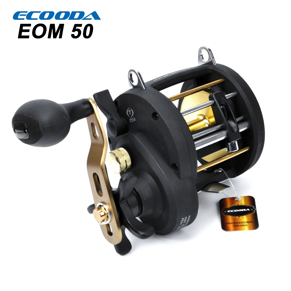 ECOODA Baitcasting Reel Boat Fishing Reel 10kg 6.2:1 7 Ball Bearing Drag Power Drum Trolling Reel  EOM 30R/L&50R/L