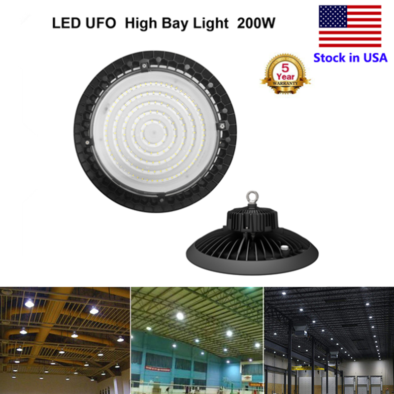 100W 150W 200W UFO High Bay LED Lights 5000K Bright White, Industrial Highbay Light, Warehouse Light Fixtures, AC 90-277V, ETL 150w ufo led high bay light 6000k 20000lm ip65 retrofit highbay lamp fixture led warehouse light