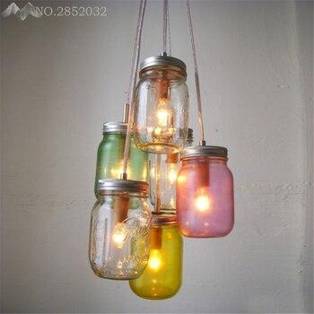 Modern colorful candy cans pendant lamp glass bottles pendant lights for living room restaurant bedroom home lighting fixtures