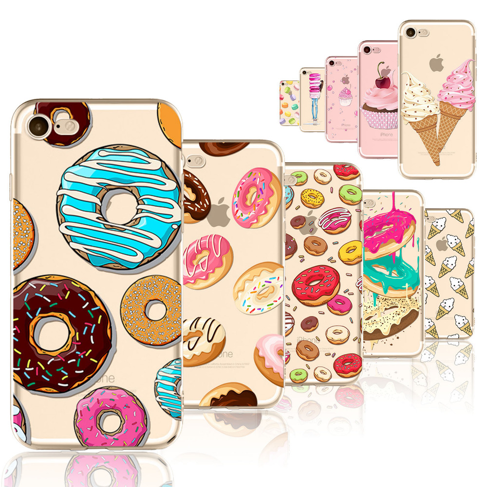 Online coloring mobile - Rainbow Color Macaron For Iphone 7 7plus Phone Case Cover Food Hamburger Donuts Pattern Fundas Celular