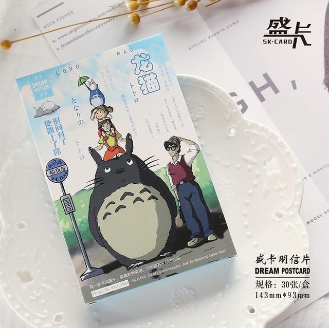 30 Pcspack Hayao Miyazaki Totoro Greeting Card Postcard Birthday