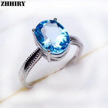 ZHHIRY Genuine Natural Blue Topaz Ring For Women 925 Sterling Silver Gem Stone Rings Fine Jewelry hutang stone jewelry natural green turquoise blue topaz pendant solid 925 sterling silver necklace fine jewelry for women gift
