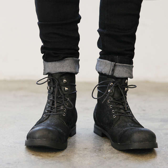 Fashion Do Old Paratrooper Boots Autumn Winter Men S Leather Boots Black Casual Flats Shoes Heavy Matal Lace Up Motorcycle Boots In Motorcycle