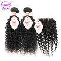 Rosa Продукты Волосы Kinky Вьющиеся С Закрытием 2 Связки Перуанский Девы Волос С Кружевом Закрытие Перуанский Kinky Необработанные Волос