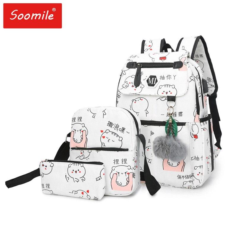 Soomile 2018 USB Charging Canvas Backpack 3 Pcs/set Women School Backpacks Schoolbag For Teenagers Man Student Book Bag Boys Sat