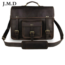J.M.D Classic 100% Genuine Leather Men's Shoulder Bag Messenger Bag Business Briefcase Hand bag Laptop Bag 7234